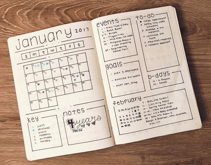 A bullet journal open to pages of a calendar and events lists.