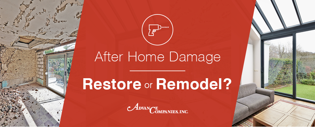 Before and after of a house after home damage